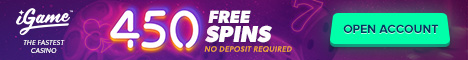 iGame Casino 150 and 450 Free Spins no deposit bonus
